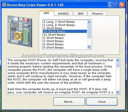 Rizone Beep Codes Viewer - AyudasyTutoriales