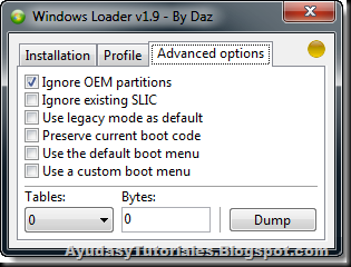Windows 7 Loader v1.9 by Daz - Advanced Options - AyudasyTutoriales