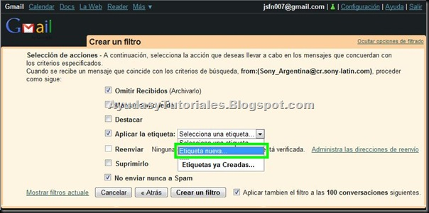 Gmail - Etiqueta Nueva - AyudasyTutoriales