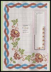 gráfico do trilho de mesa dança das rosas em ponto cruz