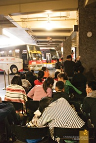 Waiting passengers at the Victory Liner Baguio