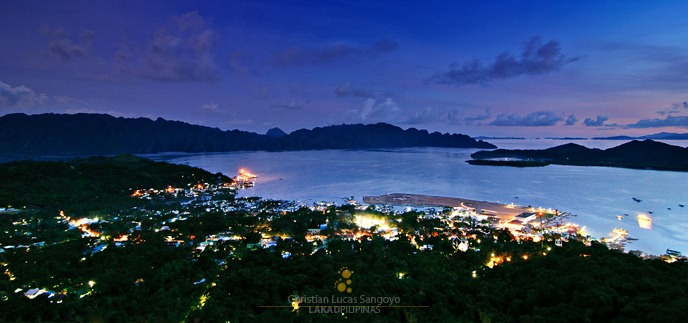 A Panorama of the Small Town of Coron at Night