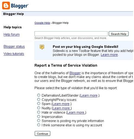 flagging blogger blog