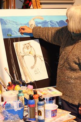Helen Stacey overworking Wendy Grace Allen's painting.