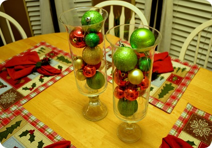 place some christmas balls on top for a festive look - Christmas Decorating On A Dime