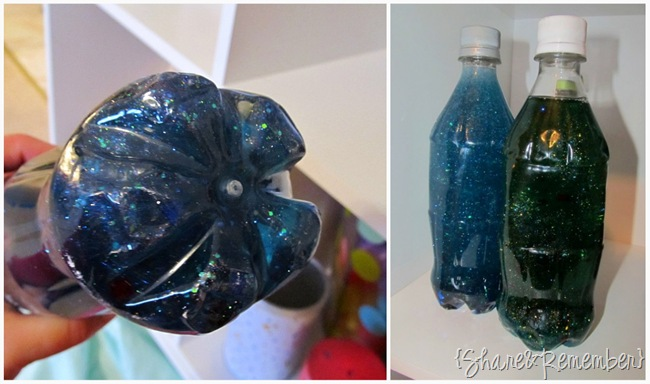 Sensory Bottles sparkle bottles water and glitter