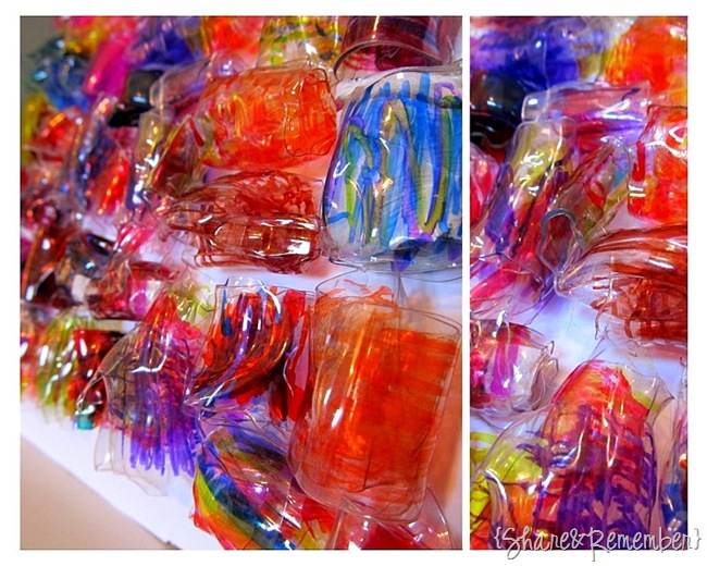 Recycled water bottles plastic bead mosaic share for Things to make with plastic bottles