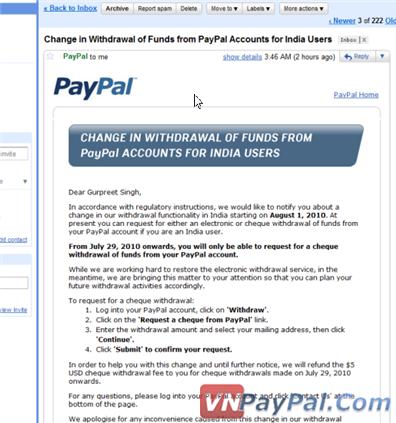 PayPal Ấn Độ Không Thể Rút Tiền Về Ngân Hàng Từ Tháng 8