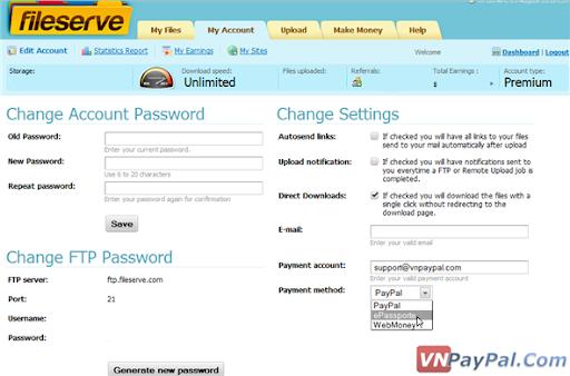 Kiếm Tiền Qua Upload Với FileServe [Hỗ Trợ Download Từ Việt Nam]