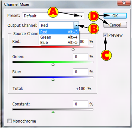 Channel Mixer Dialog Box