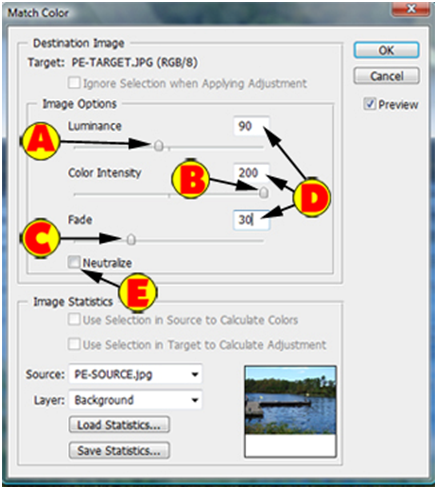Match Color Dialog Box Settings
