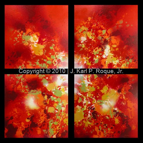 TITLE_Flaming Fountain MEDIUM_Mixed Media SIZE_60.96 cm. per panel YEAR_2010