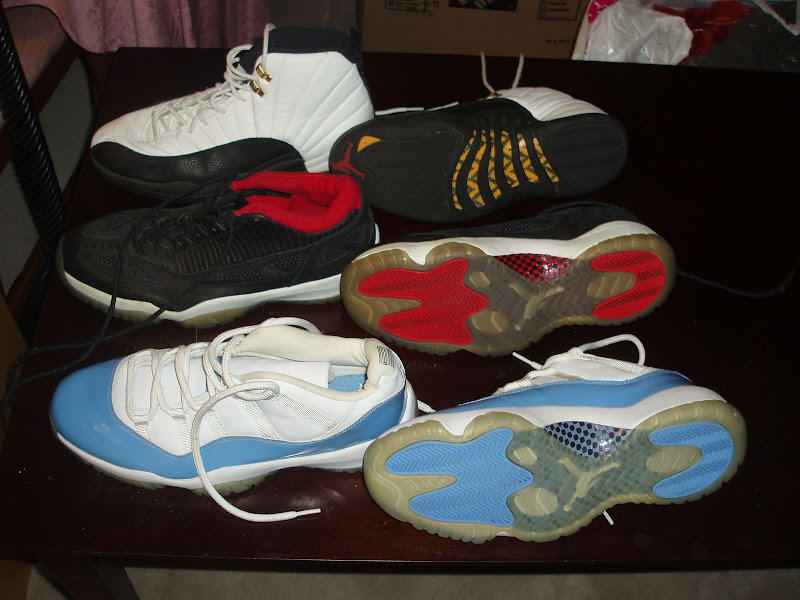 (used OGs) white/carmine VIs in size 13, blue/black Foamposite 1s (aka  Penny Hardaways) in size 12, black/black Flightposite in size 11.5,  white/blue/flint ...