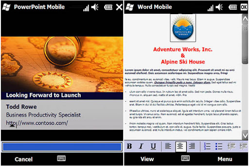 Free Download Microsoft Office Moblie 2010 for Windows Mobile 6.5 Mobile 7 powerpoint and word