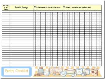 Household Planner Pantry Blank Medium