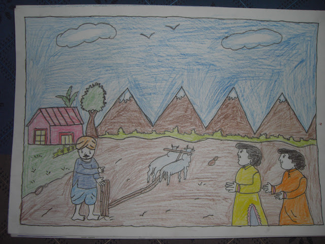 Grades 3,4,5 (3rd Prize) - Sonia (Class 5, Roll no. 15, Morning shift, Village Scene)