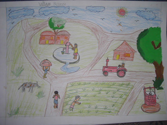 Grades 3,4,5 (Consolation Prize 3) - Pawan (Class 5, Roll no. 11, Village Scene)