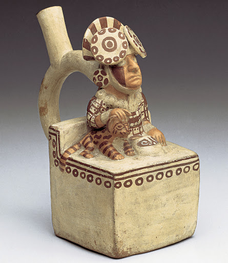 Moche Lord With a Feline, Moche Valley, Peru. Moche culture, c.100 BCE-500 CE. Painted ceramic, height 7 1/2""