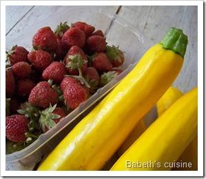 courgettes jaunes et fraises
