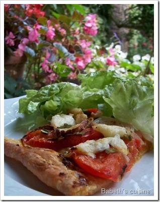 tarte tomates oignons mozza morceau