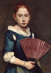 Giacomo Ceruti, dit le Pitocchetto, Portrait d'une jeune fille avec un éventail, Huile sur toile, Vers 1740