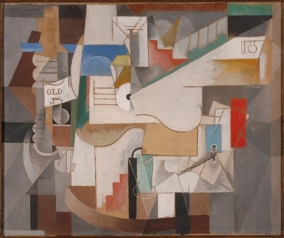 Pablo Picasso, Bottle, Guitar, and Pipe, 1912. Museum Folwang, Essen
