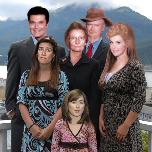 Beverly Hillbilly faces on Todd, Sarah, Track and Bristol, and Greta face on Willow and Meg Stapleton face on Piper