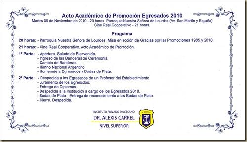 Acto Egresados 2010_programa
