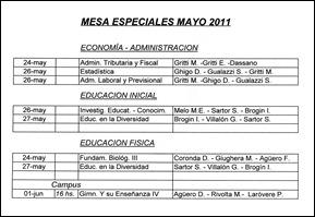 Exámenes especiales mayo 2011 [50%]