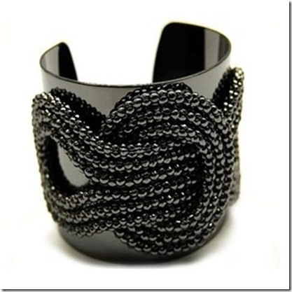 Carrissa_s Wide Black Woven Knot Cuff Bracelet
