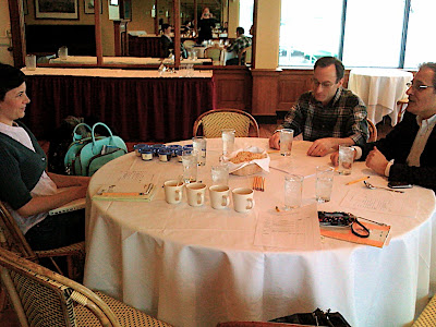 reporter, oren bloostein, don schoenholt cupping instant at water club; fortune elkins visible in mirror; buzzy o'keefe not arrived yet