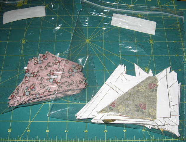 Sisterhood Triangles cut and bagged