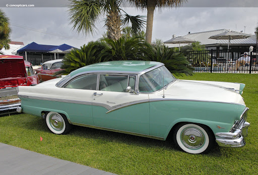 1956 ford green and white