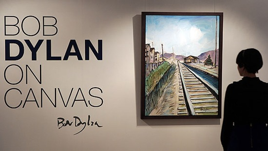 LONDON - FEBRUARY 10:  A painting by Bob Dylan entitled 'Train Tracks .2' is shown for the first time at Halcyon Gallery on February 10, 2010 in London, England. The Bob Dylan on Canvas Exhibition debuts  the music legend's first-ever paintings on canvas. Open to the public from Saturday 13th February until 10th April 2010 at Halcyon Gallery at 24 Bruton Street, Mayfair - London.  (Photo by Peter Macdiarmid/Getty Images for Halcyon Gallery)
