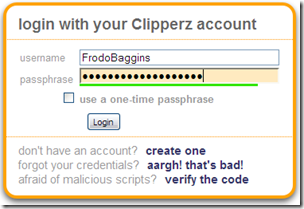 ClipperZ Login form