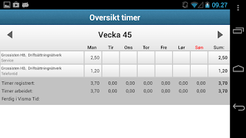 Screenshot of Visma Avendo Time