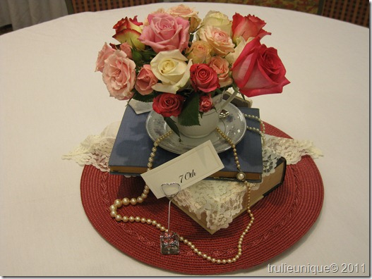 centerpieces, ribbons lace bows, victorian floral, victorian centerpieces
