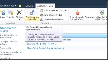 Seleccionar Aplicacion Web y luego Seleccionar Configuracion General