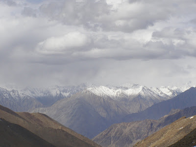 Snow capped peaks seen from khardung La