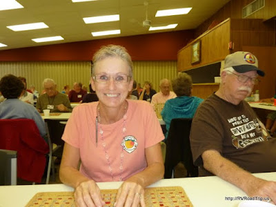 Cynthia hoping to win at bingo.