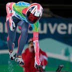 Amy Williams of Great Britain competes during the women's skeleton competition at the Vancouver 2010 Olympics in Whistler, British Columbia, Friday, Feb. 19, 2010. (AP Photo/Elise Amendola)