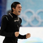 USA's Evan Lysacek reacts after performing his free program during the men's figure skating competition at the Vancouver 2010 Olympics in Vancouver, British Columbia, Thursday, Feb. 18, 2010. (AP Photo/Mark Baker)