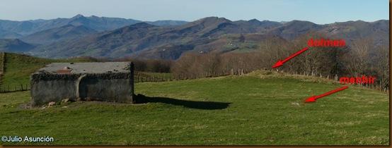 Depósito de agua y ubicación de los monumentos megalíticos cercanos