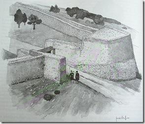 Reconstrucción hipotética del bastión de la entrada