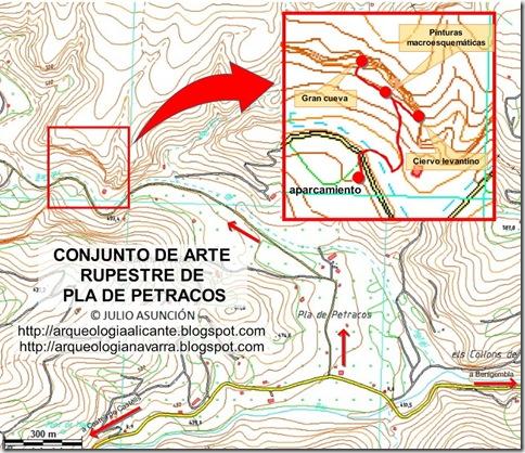 Mapa pinturas rupestres de Pla de Petracos