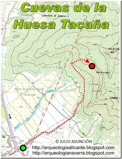 Mapa ruta cuevas de la Huesa Tacaña