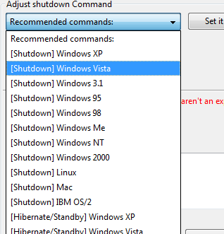 Auto Shutdown Built-In Commands list