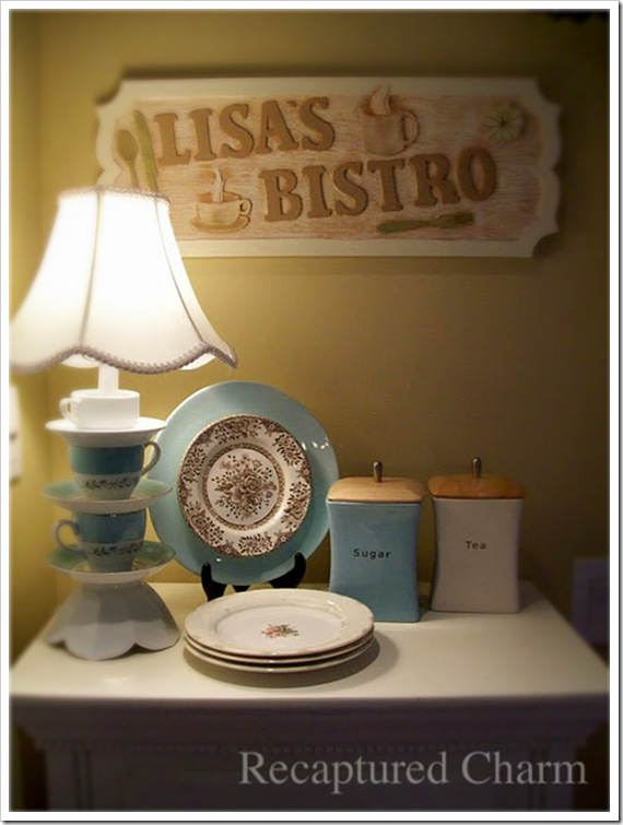 Teacup lamp bistro sign