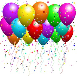 Clipart Illustration of a Bunch Of Floating Party Balloons With Confetti At A Party
