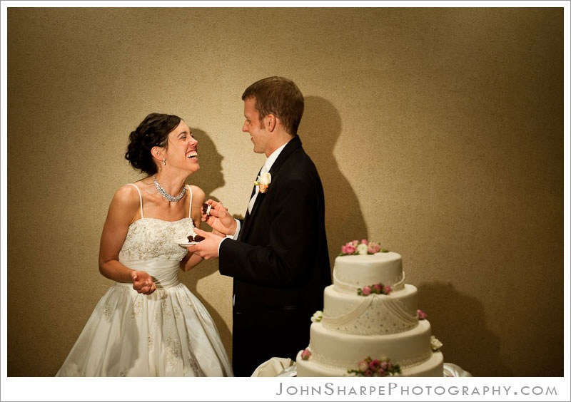 Minneapolis  Wedding Photographer at Holiday Inn Metrodome  Cutting the Cake